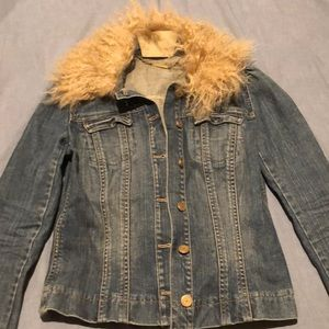 Elie Tahari distressed jean jacket w fur collar